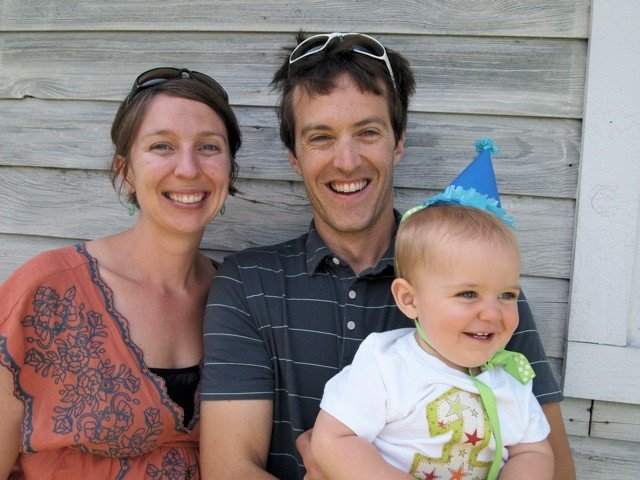 Chris with his wife Lara McCluskey and son, Blue Agnew